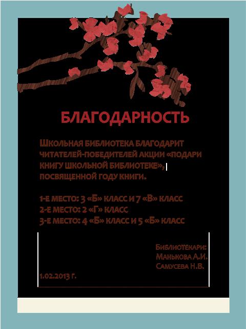 Благодарность за подаренные библиотеке книги в Нарышкино,Буденновске,Солтоне